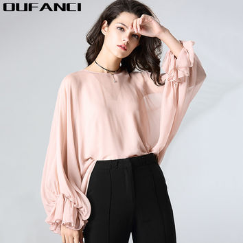 OUFANCI Brand Vintage Women's Blouses Solid O-Neck Lantern Sleeve Loose Silk Blusa Summer Shirts Blouses for full for the summer