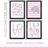 girl nursery art ABC poster alphabet kids wall art baby girls room decor playroom decor for toddlers elephant print love girls wall art