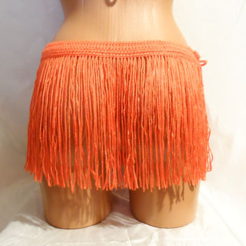 CROCHET FRINGES SKIRT Mini Skirt Belt Summer Festival Crochet Orange Hippie Belt Crochet Belt Hawaii Skirt Coachella Dance Fringe Belt