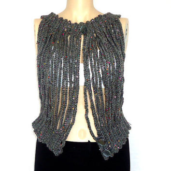 Handmade crochet bolero,Vest for women,Different gray sleeveless jacket,Summer fashion.