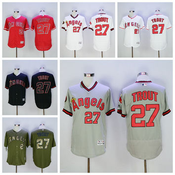 Los Angeles Angels 27 Mike Trout Jersey Flexbase LA Angels Mike Trout Baseball Jerseys Coll Base of Anaheim White Pullover Red Grey