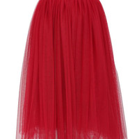 AW15: Red Net Tulle Midi Skirt by FRNCH - LIMITED COLLECTION