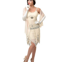 Iconic by UV Exclusive Cream & Silver Sequined Gatsby Flapper Dress