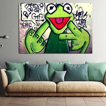 Rap Singer Frog Canvas Painting Wall Art Pop Art Posters And Prints Graffiti Wall Painting Bedroom and Home Decor