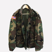 Vintage Studded Army Camo Jacket (Small/Indie Brands)