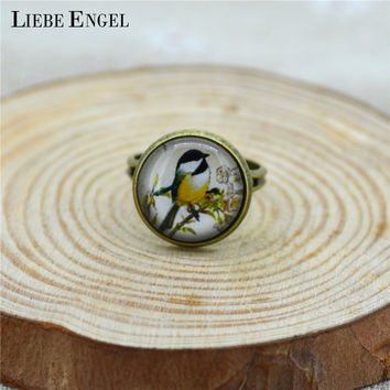 LIEBE ENGEL Vintage Yellow Bird Glass Cabochon Ring Glass Dome Antique Bronze Copper Ring Bezel Setting Women Girl Adjustable