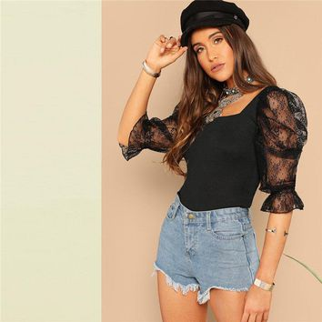 Going Out Highstreet Black Lace Puff Sleeve Rib-Knit Tee Glamorous Women Square Neck Backless Tshirt Tops