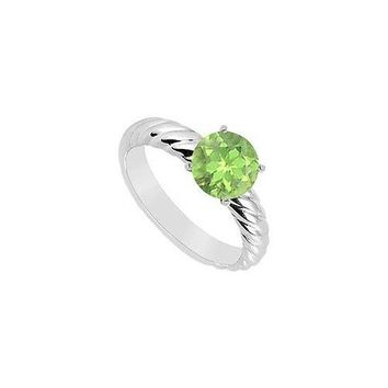 Peridot Ring : 14K White Gold - 1.00 CT TGW