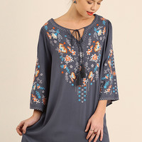 Slate Embroidered Shift Dress