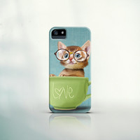 iPhone 6 Cover, iPhone 6 Plus, iPhone 5 Case, iPhone 4, Galaxy S5, S4 - Kitten with glasses in a big cup - pet, gift, smartphone, funny, cat