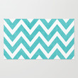 aqua chevron Rug by Her Art
