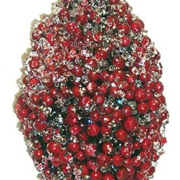 MDIGMS9 6' Icy Red Pepperberry Glitter Cone Christmas Ornament