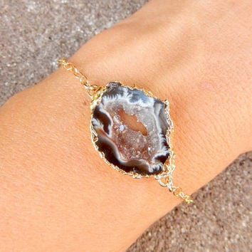 Geode Slice Bracelet 14K Gold Freeform Druzy Crystal Quartz Rock Agate Boho Black White Brown - Free Shipping OOAK Jewelry