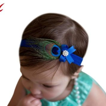Princess Crystal Peacock Feathers Hair Band Kids baby Headwear
