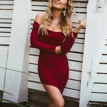 Off Shoulder Sweater Party Dress