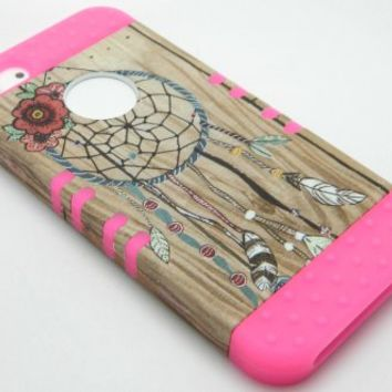 New Impact Hybrid Combo Hard Case Soft Rubber for Iphone 5 - Blue Stripes Hot Pink Skin (Wood Dream Catcher)