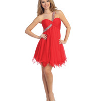 2014 Prom Dresses - Red Chiffon & Sequin One Shoulder Dress