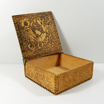 Pyrography Trinket Box, Victorian Gibson Girl Esque Portrait with Pansy Flowers Wood Burned Flemish Art Handkerchief Box