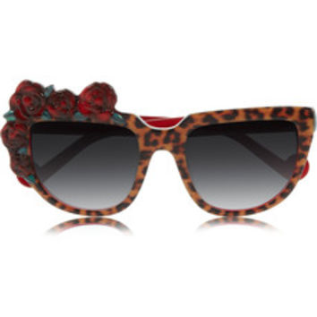 Anna-Karin Karlsson Rose Rouge D-frame leopard-print acetate sunglasses – 60% at THE OUTNET.COM