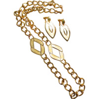 Vintage 1980's Napier Yellow Enamel & Chunky Curb Link Necklace & Earrings Set