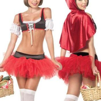 Christmas Halloween Costume Little Red Riding Hooded Fantasy Game Uniforms Cosplay Stage Performances Outfit For Women Girls