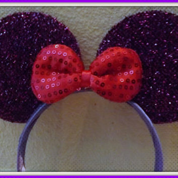 MINNIE MOUSE EARS Headband Purple Sparkle with Pink Sequin Bow Mickey