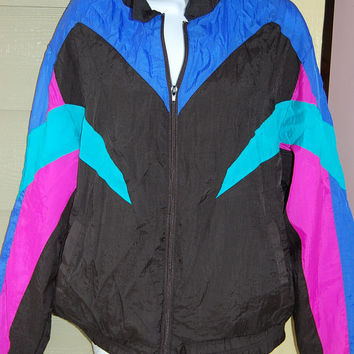 Vintage 80s 90s Colorblock Black Aqua Fuchsia Indigo Windsuit Windbreaker Nylon Workout Aerobics Jacket Size Medium