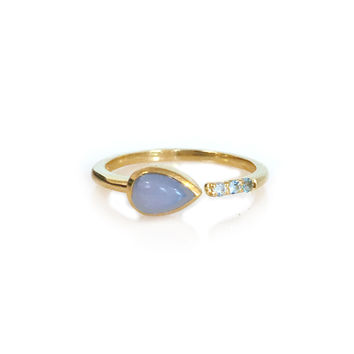 Lavender Chalcedony and Topaz Siren Ring