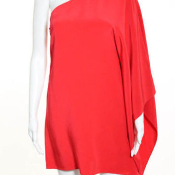 Jay Godfrey Red Silk Paradis One Shoulder Dress Sz 4