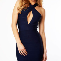 Clothing : Bandage Dresses : 'Emmanuel' Navy Open Bust Bandage Dress