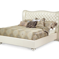 Hollywood Swank King Upholstered Bed - Creamy Pearl by Aico