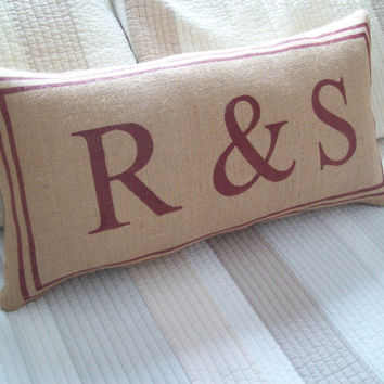 Personalized Burlap Decorative Initial Pillow / Wedding or Anniversary Gift Pillow