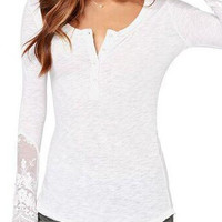White Long Sleeve Lace Bodycon Blouse