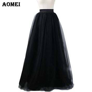Ladies 7 Layers Tulle Maxi Long Skirts Plus Size Black Tulle Fashion Prom Party Princess Lolita Mesh Skirt Jupe Saias Petticoat