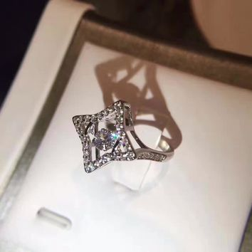 Swarovski carat Classic CRY pt950 logo High 2018 New ring Serpenti ring AAAA diamond drill hollowed out S925 Sterling Silver Lovers ring