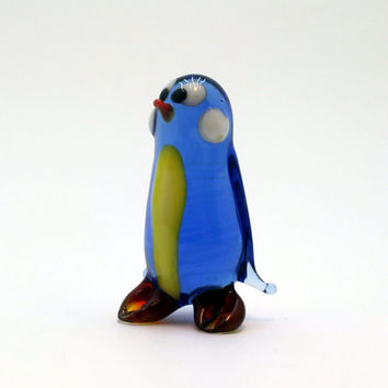 Glass penguin art glass bird home decor glass birds fused glass bird ornament art glass bird fused glass bird murano glass handmade(225)