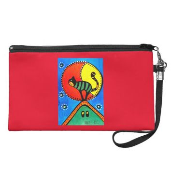 The Cat and The Moon Colorful Cat Design Wristlet Purse