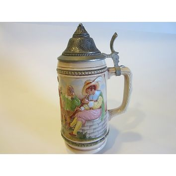 Art Deco Gerz Tankard Pewter Zinn Cover Made in West Germany Outdoor Scene