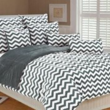 Marlo Lorenz 4892 Chevron Microplush Comforter Set, Silver, Full/Queen