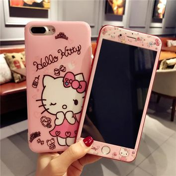 For iPhone 7 7Plus Cartoon Hello Kitty Cases + Tempered Glass Screen film ,Cute TPU Cover smooth for Apple iPhone 6 6s Plus case
