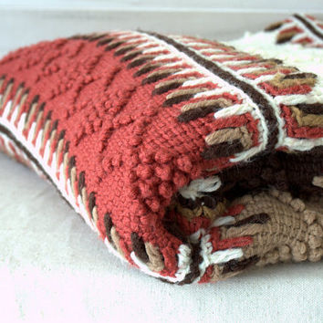 Unique Crochet Afghan, Crochet Tunisian Textured Afghan Blanket, Vintage Crochet Blanket, Indian Throw Blanket