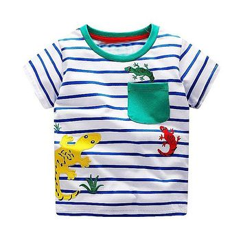 Multi Lizard Blue Striped Tee