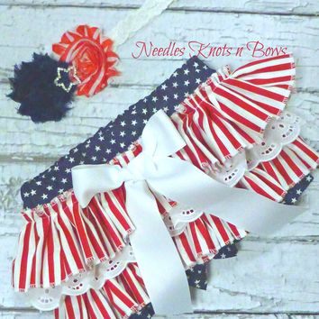 Baby Girls 4th of July Ruffled Bloomers, Red White & Blue Bloomers, Girls Patriotic Bloomers