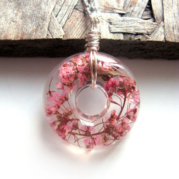 Real Pink Alyssum Necklace - Alyssum Blooms in Resin -  Pressed Flower Jewelry, Resin Necklace, Wire Wrapped Pendant,  Donut Pendant