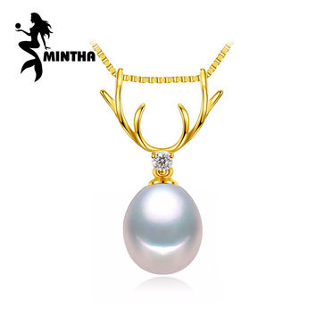 MINTHA 18K Gold deer pendant pearl Jewelry antlers necklaces & 18K yellow gold pendant for lovers send s925 silver necklaces