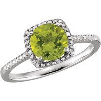 Sterling Silver Peridot & .01 CTW Diamond Halo-Style Ring