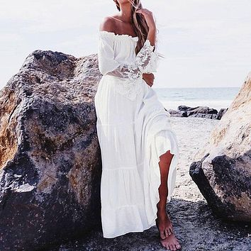 Women Sexy Lace Patchwork Maxi Long Dress  Slash Neck Off Shoulder Flare Sleeve Beach Party White Dresses Robe Vestidos