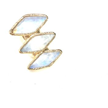 Rainbow Moonstone Triple Ring