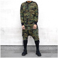 Long Sleeved Quality Men Top Tee Tshirt T-Shirt T Shirt Kanye Camo Camouflage Hip Hop Swag Skate Brand-Clothing Tyga