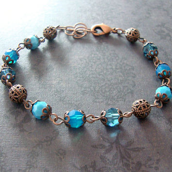 Blue Swarovski Crystal Bracelet - Blue Victorian Jewelry - Antique Copper Filigree Blue Crystal Bead Bracelet - Blue and Copper jewelry